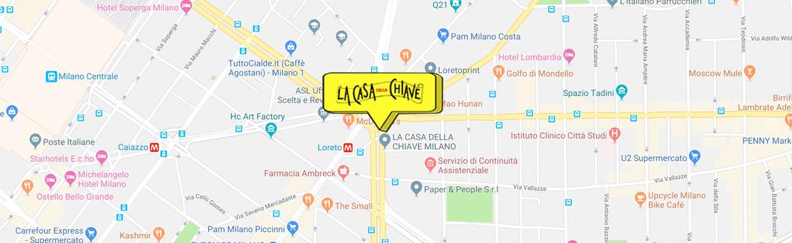 Mappa de La Casa della Chiave, duplicazione chiavi a Milano